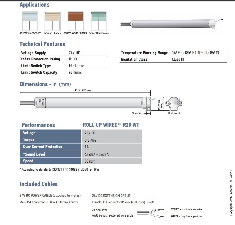 Somfy Roll Up Wired R28 WT 24V DC Motor - Motors For Blinds ...