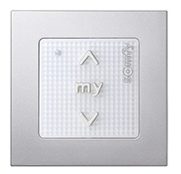 Somfy Smoove 1 RTS Single Channel Surface Mount Pure Wall Switch 1811533 with Silver Matte cover plate 9015025